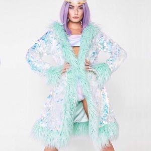 Dolls Kill 💠 Iridescent Sequin Fur Jacket